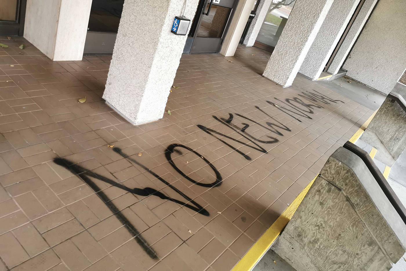 Kelowna City Hall has been vandalized overnight. (Michael Rodriguez - Capital News)