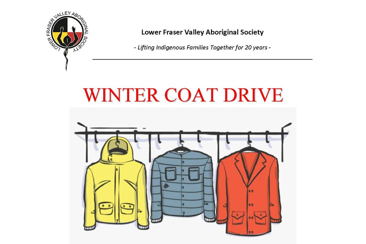 The public can donate clean new or gently used adult winter coats that will be used to help people in this community. (Lower Fraser Valley Aboriginal Society poster)