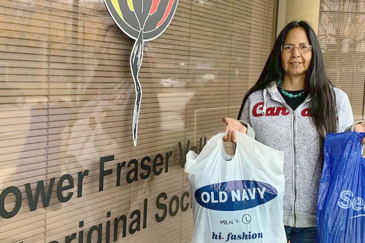 Elder Jean Dan and others at the Lower Fraser Valley Aboriginal Society are accepting donations of clean new and gently used adult winter coats until Friday, Oct. 30. (Stephanie Croteau/Special to the Langley Advance Times)