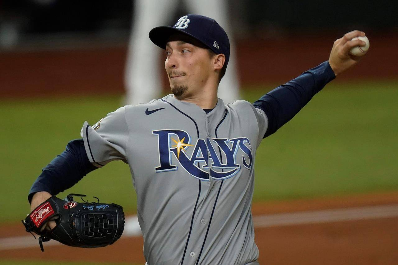 Tampa Bay Rays starting pitcher Blake Snell throws against the Los Angeles Dodgers during the first inning in Game 6 of the baseball World Series Tuesday, Oct. 27, 2020, in Arlington, Texas. (AP Photo/Eric Gay)