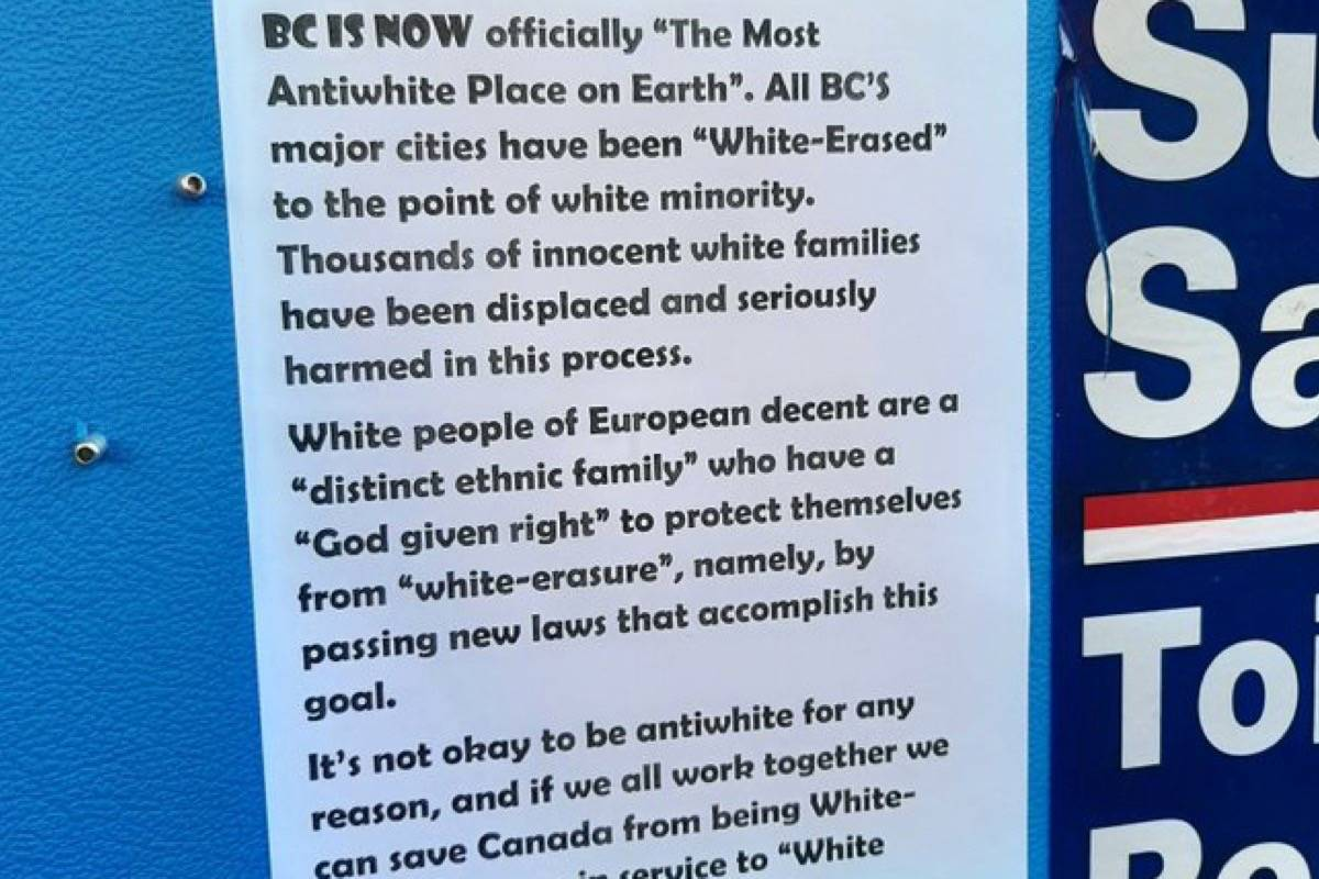 "Ranil Prasad saw this poster near Surrey Central SkyTrain station on Monday, Oct. 26, 2020. He said it expressed ""some specific reference to white replacement theory."" (Photo: Ranil Prasad/@run_neil/Twitter)"