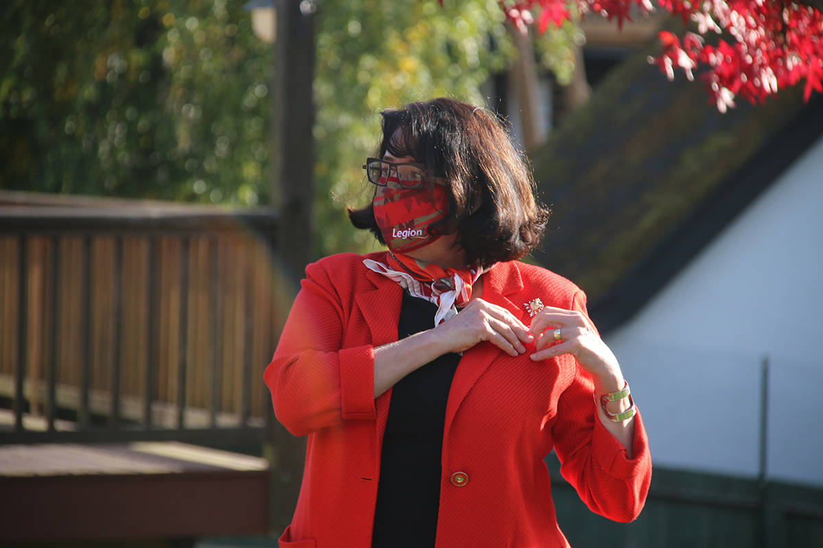 Janet Austin, lieutenant governor of B.C., was presented with the first poppy of the Royal Canadian Legion's 2020 Poppy Campaign on Wednesday. (Kendra Crighton/News Staff)