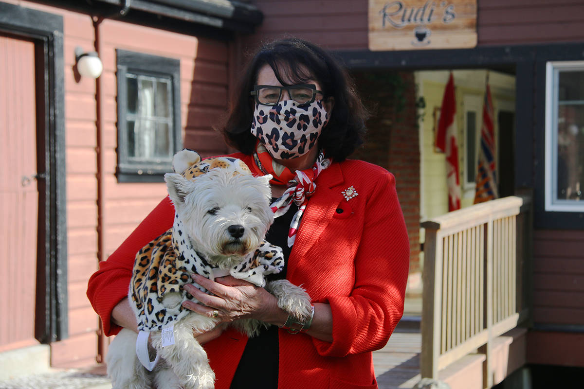 Janet Austin, lieutenant governor of B.C., and MacDuff show off their matching costumes during Wednesday's ceremony. (Kendra Crighton/News Staff)
