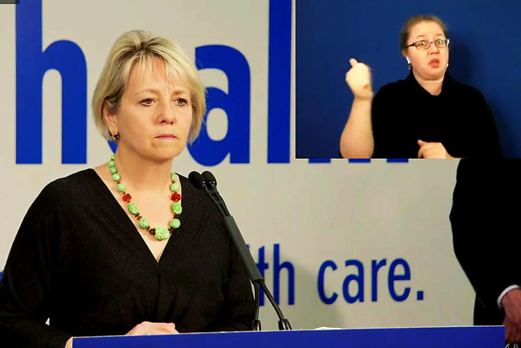 Provincial Health Officer Dr. Bonnie Henry speaks Thursday (Oct. 29) during a news conference held at Fraser Health office, in video posted to Facebook. (Photo: Government of British Columbai/Facebook)