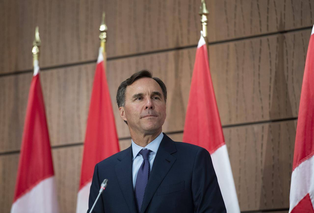 Minister of Finance Bill Morneau announces his resignation during a news conference on Parliament Hill in Ottawa on August 17, 2020. THE CANADIAN PRESS/Justin Tang