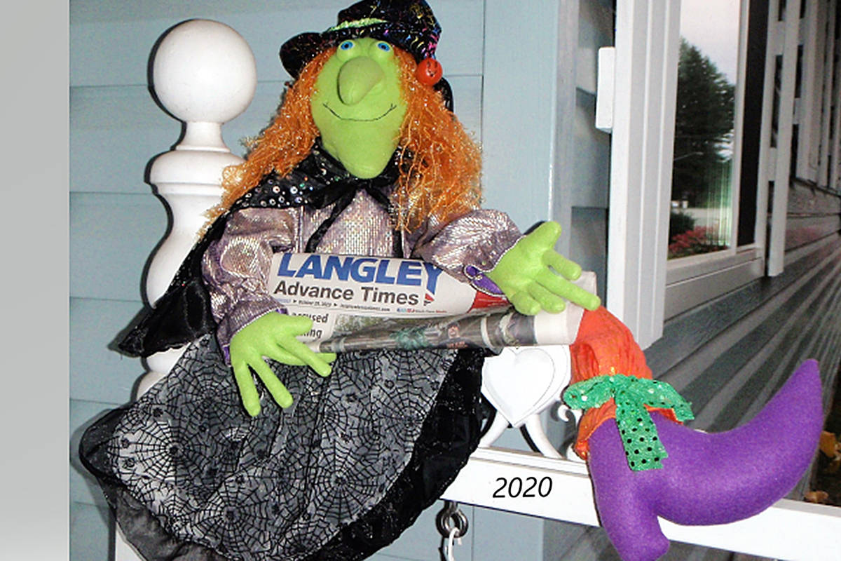 Aldergrove's Shirley Sawatsky and her porch witch wish fellow Langleyites a safe and happy Halloween. (Special to Langley Advance Times)
