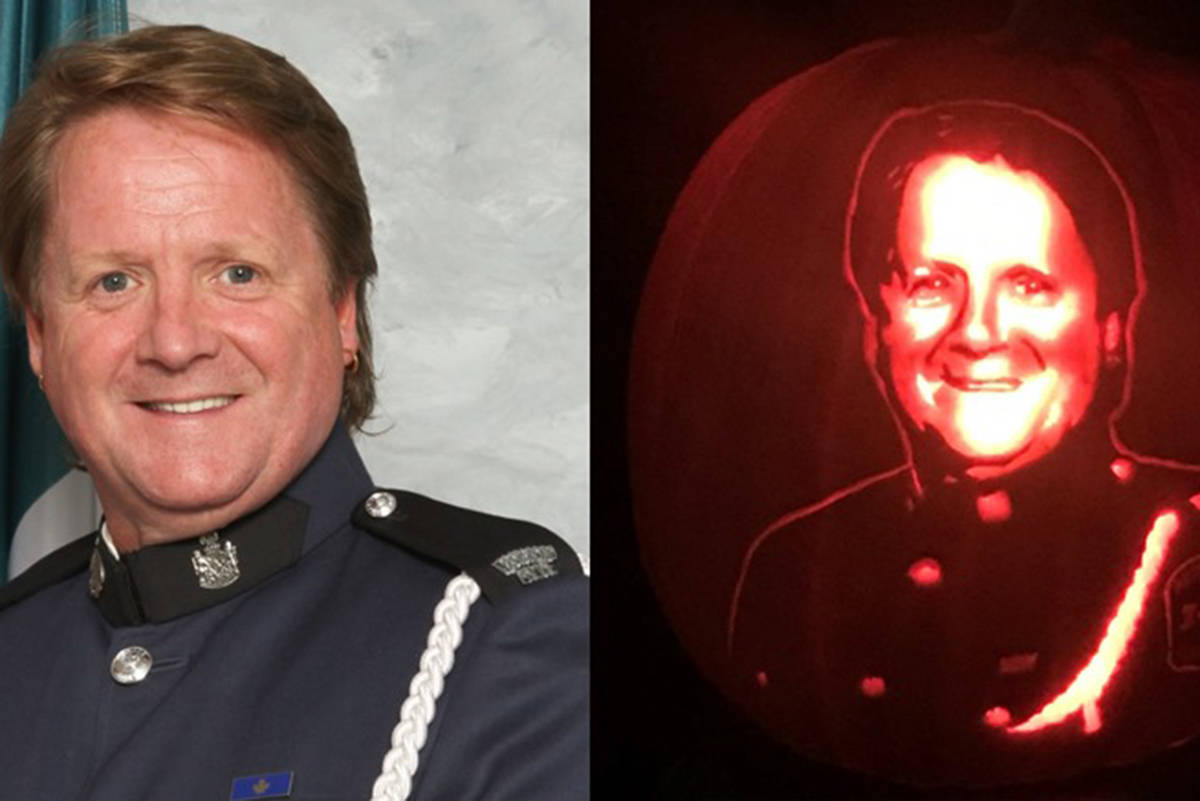 Among the pumpkin carvings created this year by Rick Chong of Abbotsford is this tribute to fallen officer Cont. Allan Young.