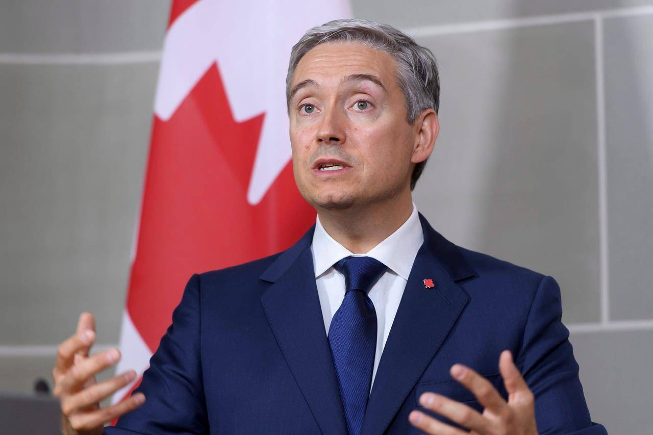 Canadian Foreign Minister Francois-Philippe Champagne attends a news conference during an official visit to Switzerland at the Von Wattenwyl Haus, in Bern, Switzerland, Monday, Aug. 24, 2020. THE CANADIAN PRESS/AP, Anthony Anex, Keystone