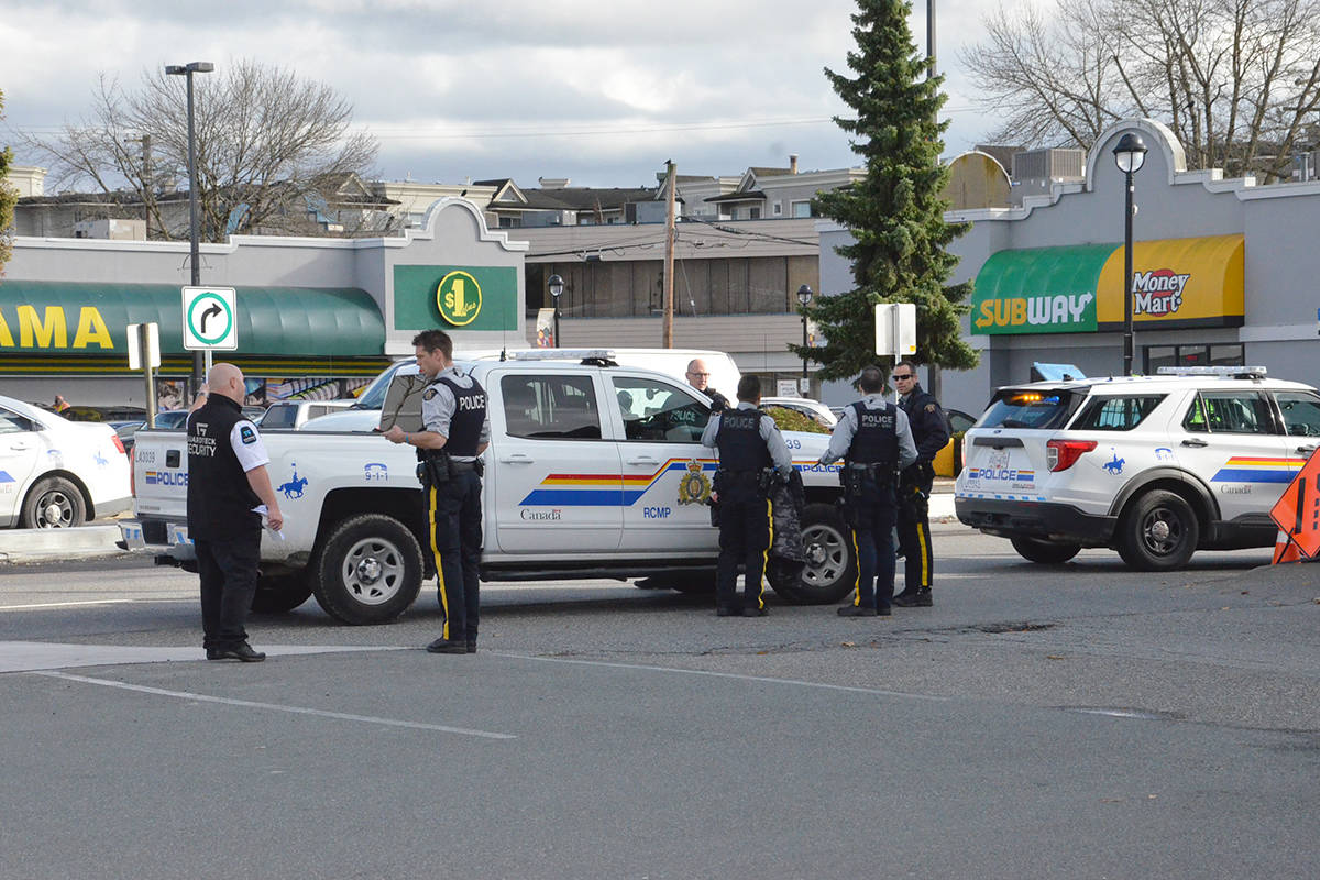 Police took one person into custody on Friday afternoon after a report of an assault. (Heather Colpitts/Langley Advance Times)