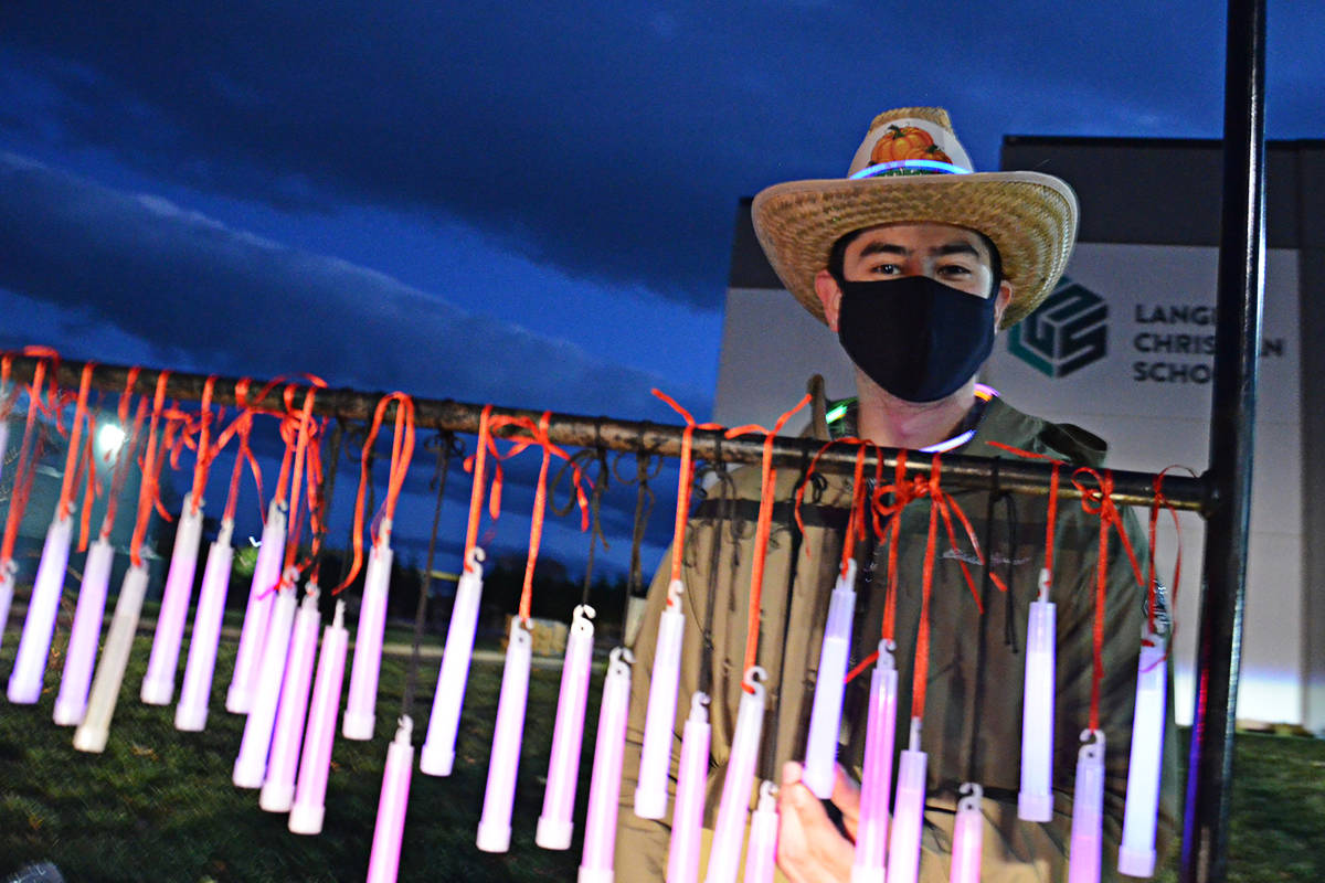 Ricky Souza was among the helpers at the South Ridge Church Pumpkin Fest on Friday evening. (Heather Colpitts/Langley Advance Times)