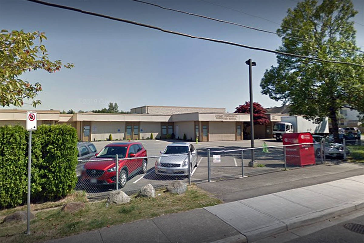 A person described as a member of the 'Langley Fundamental Elementary school community' has tested positive for the coronavirus (undated Google street view image)