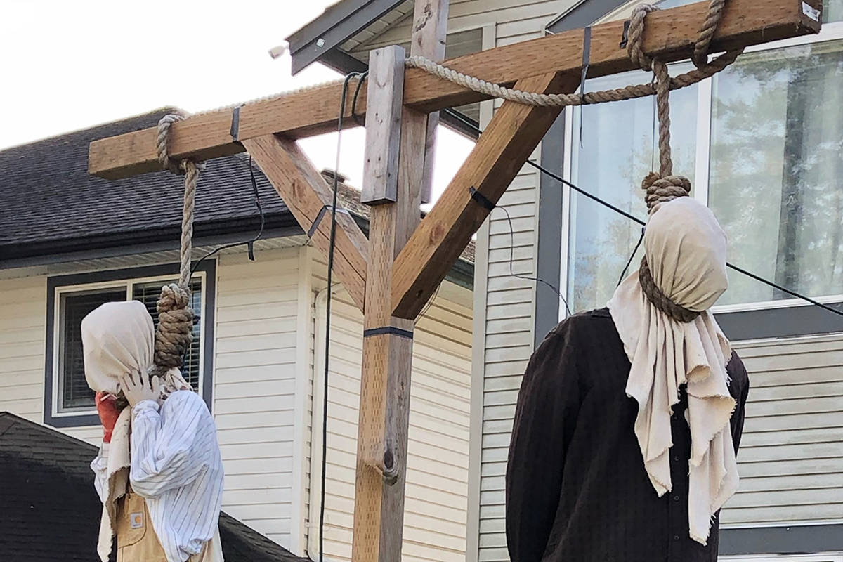 This Halloween display by a Maple Ridge family, seen here Oct. 31 in the 23600 block of 119 Avenue, has been the target of social media complaints that it is racially insensitive. (Black Press Media)