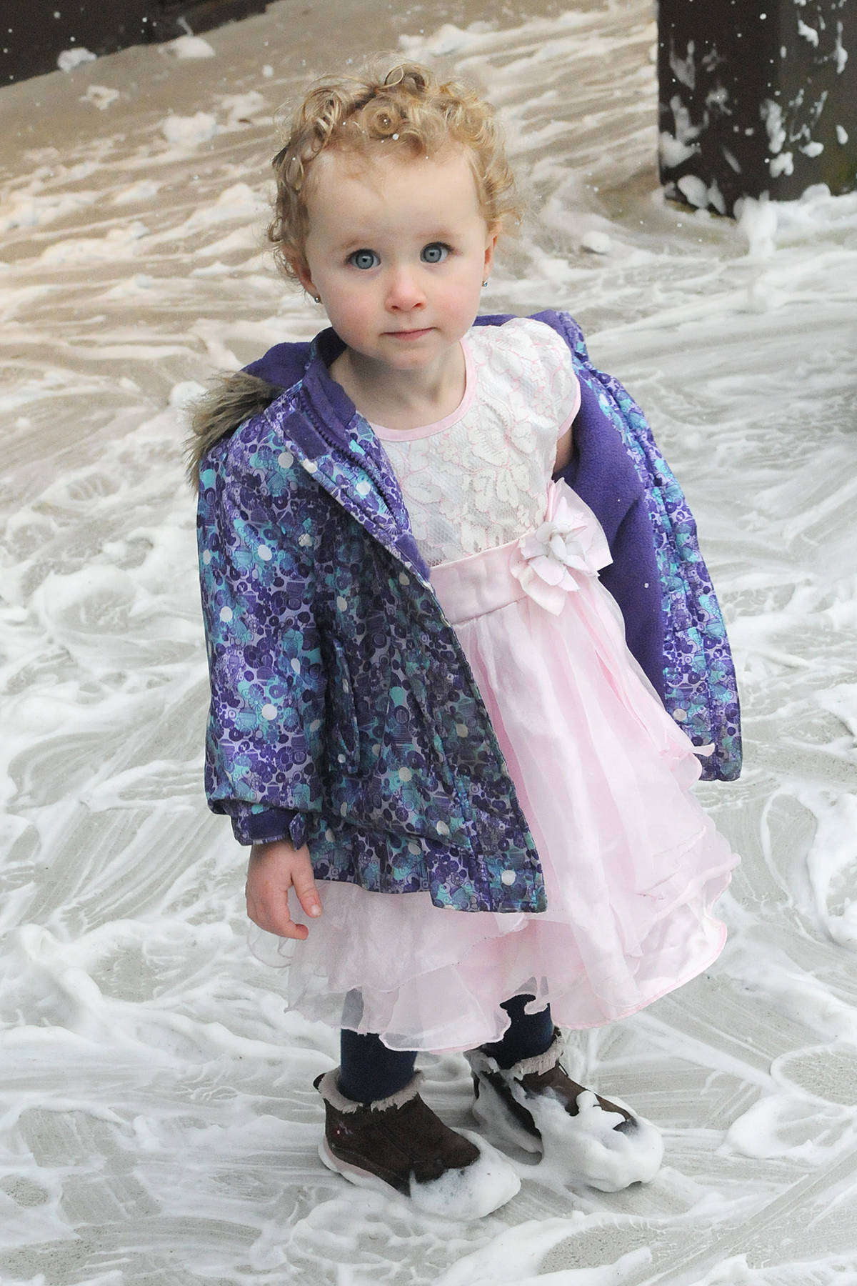 In 2019, Violet Pearce played in faux snow at the third annual Christmas Wish Breakfast hosted at Newlands Golf & Country Club in support of the Langley Christmas Bureau. (Langley Advance Times file)