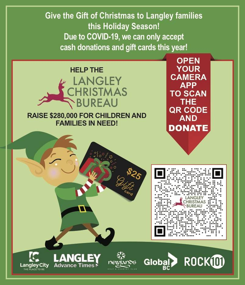 Help give Langley kids a Christmas by donating to the local bureau. Open the camera app on your cellphone and hold it over the the QR code to find a prompt to re-direct you to the Christmas bureau website where a donation of any amount can be submitted. (City of Langley/Special to Langley Advance Times)
