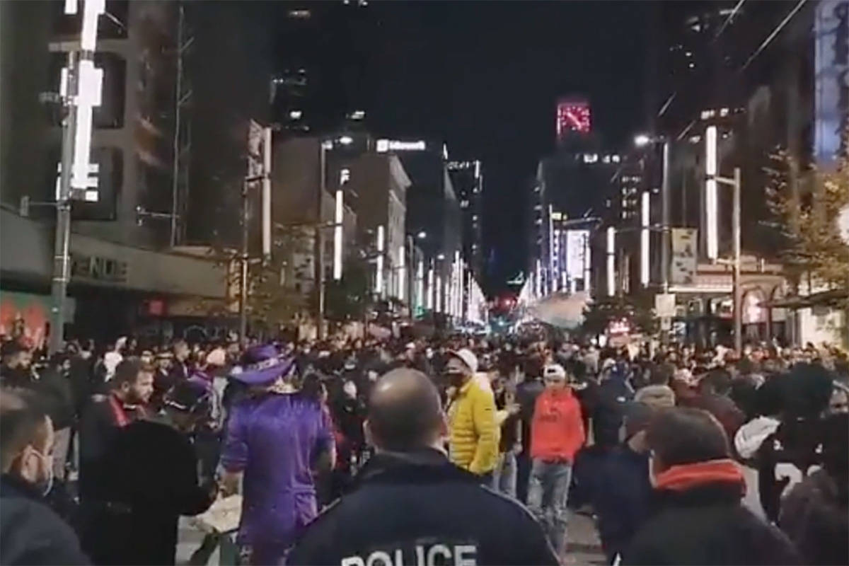 Social media images of large parties in Vancouver's downtown on Halloween night, Oct. 31, 2020.