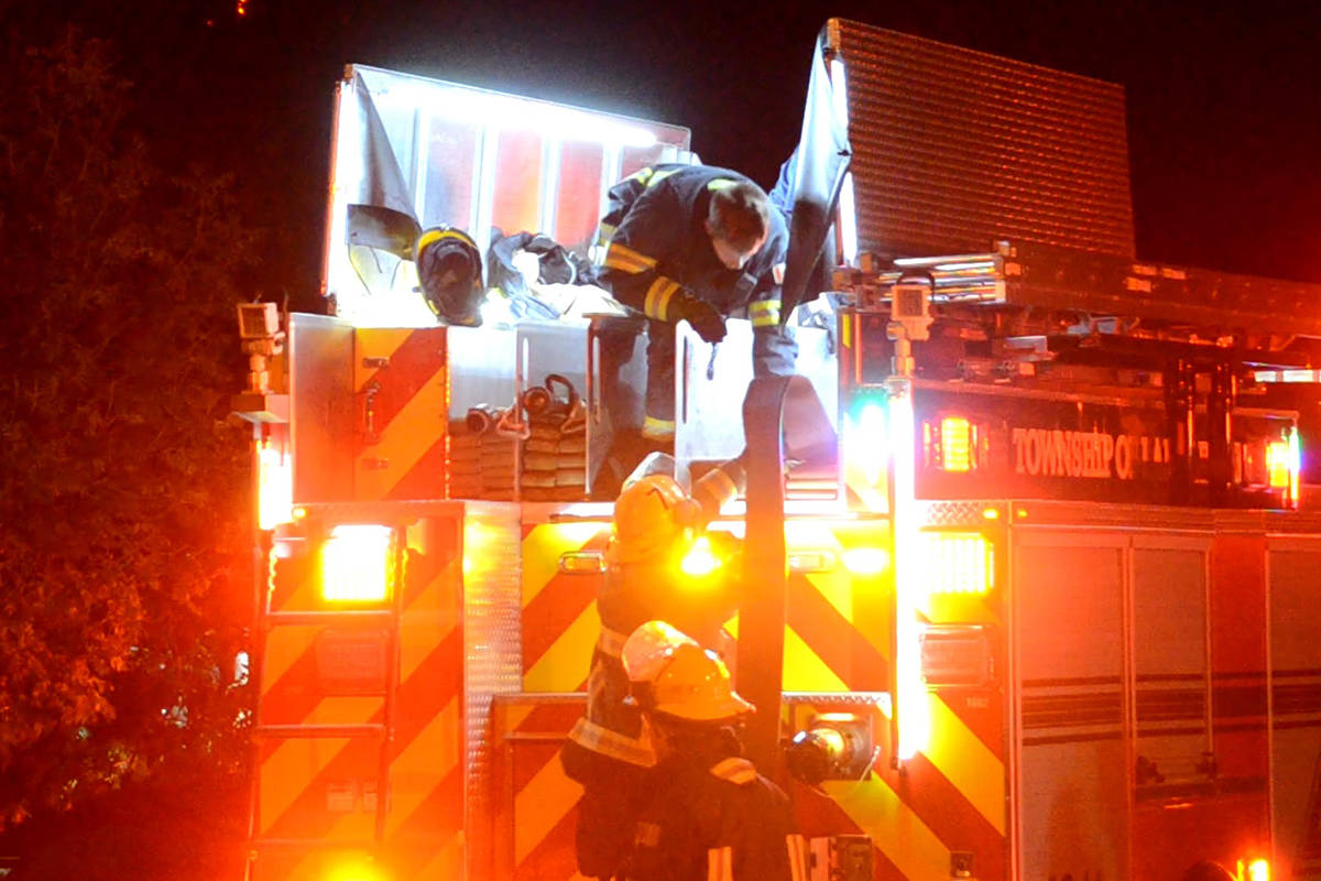 At 12:45 a.m. on Sunday morning, Nov. 1, 2020, Township of Langley crews responded to reports of a possible house fire in the 27300 block of 34th Ave in Aldergrove. (Curtis Kreklau/South Fraser News Service)