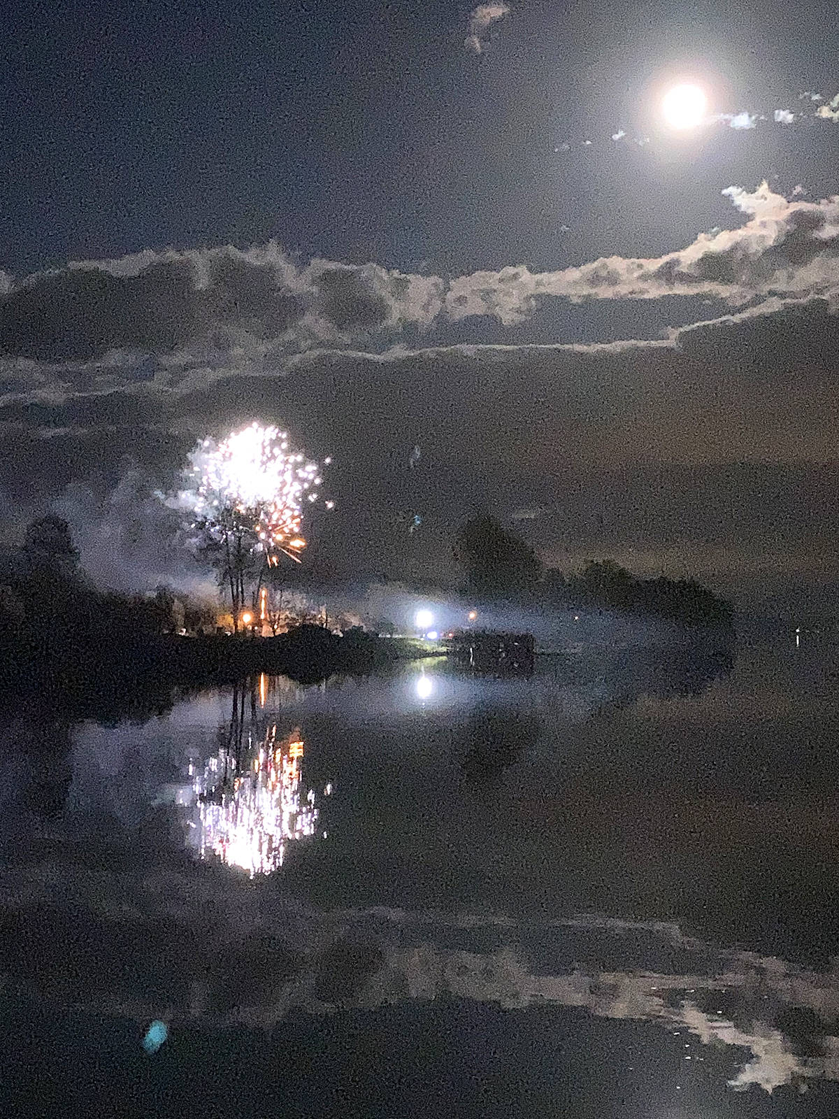 Wout Brouwer of Langley shared this picture of some celebrating Halloween from McMillan Island under a rare blue moon as seen from the south end of the Jacob Haldi Bridge on Oct. 30. (Special to Langley Advance Times)