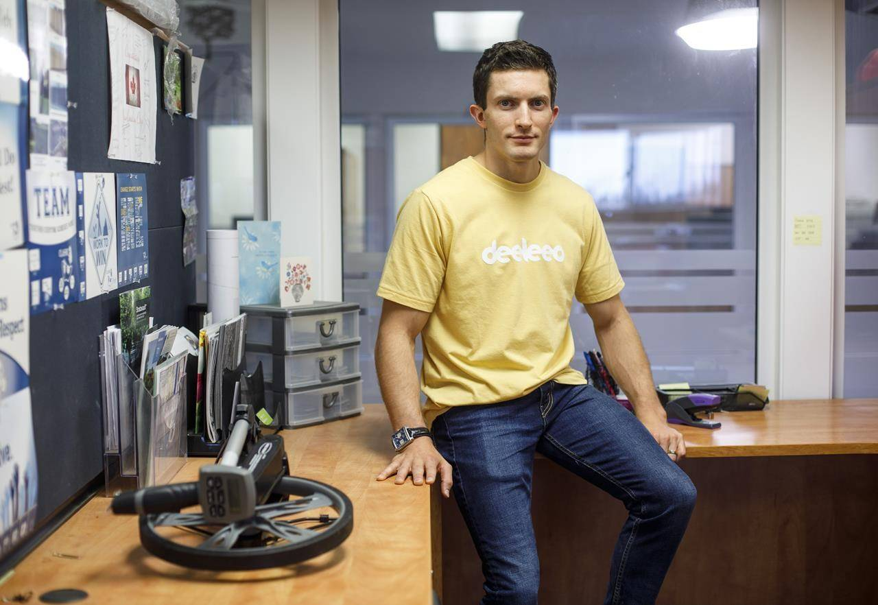 Olympic gymnast turned entrepreneur Jackson Payne is pictured in Edmonton, on Wednesday October 21, 2020. Payne has started a crowdsourced delivery company called Deeleeo in Edmonton. He was inspired to start the company after selling plenty of stuff on Kijiji and Facebook Marketplace but finding people didnt want to drive to get it. THE CANADIAN PRESS/Jason Franson
