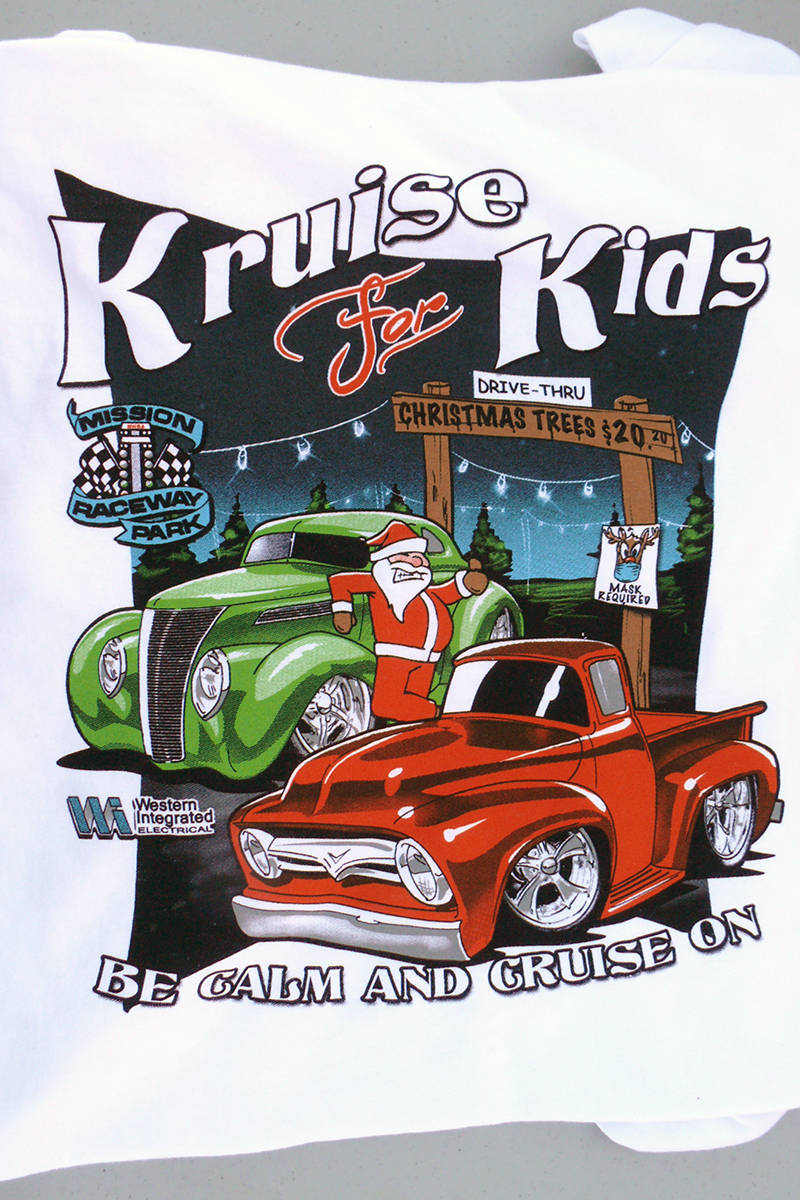 A COVID message was added to the t shirts given participants in the Sunday, Nov. 1, 202037th annual Kruise for Kids toy drive and fundraiser held at the Langley Events Centre for the Lower Mainland Christmas Bureau(Dan Ferguson/Langley Advance Times)
