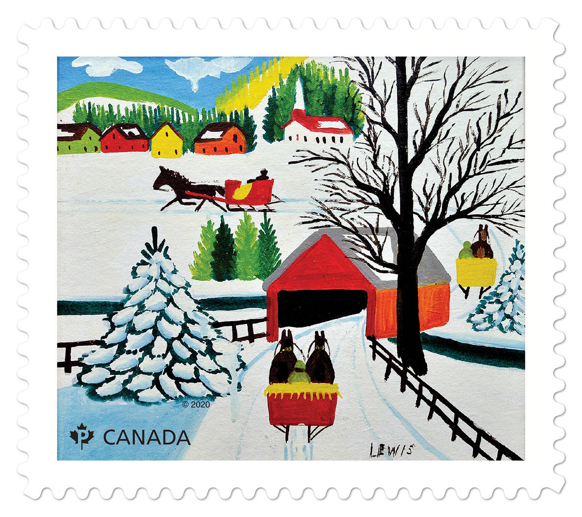 The Winter Sleigh Ride stamp from Canada Post for the 2020 holiday season. (Canada Post)