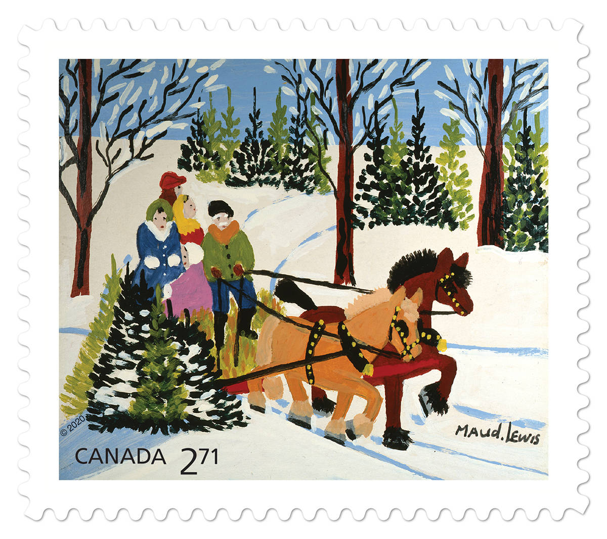 The Family and Sled stamp from Canada Post for the 2020 holiday season. (Canada Post)
