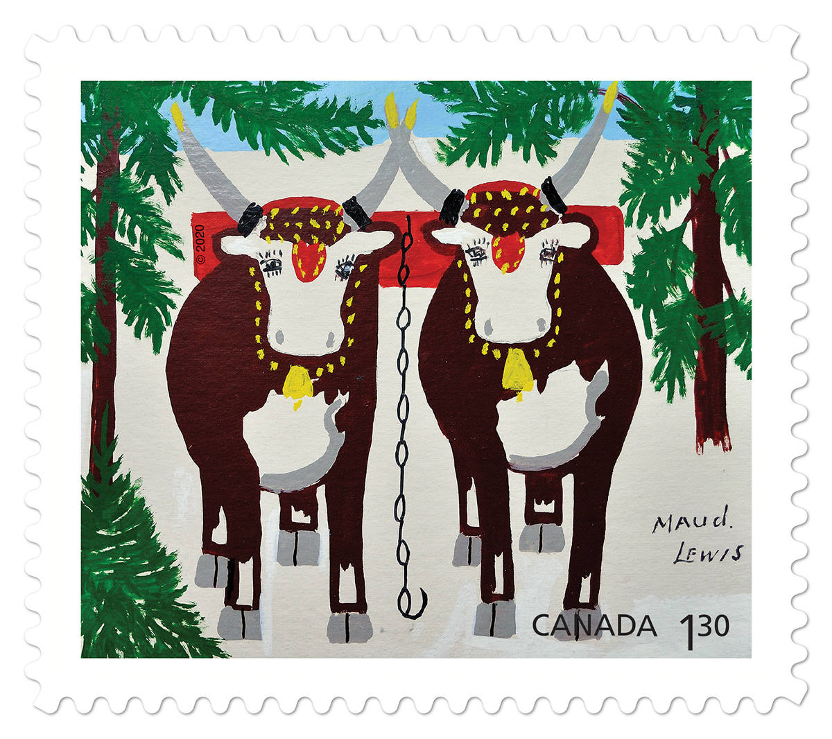 The Team of Oxen in Winter stamp from Canada Post for the 2020 holiday season. (Canada Post)