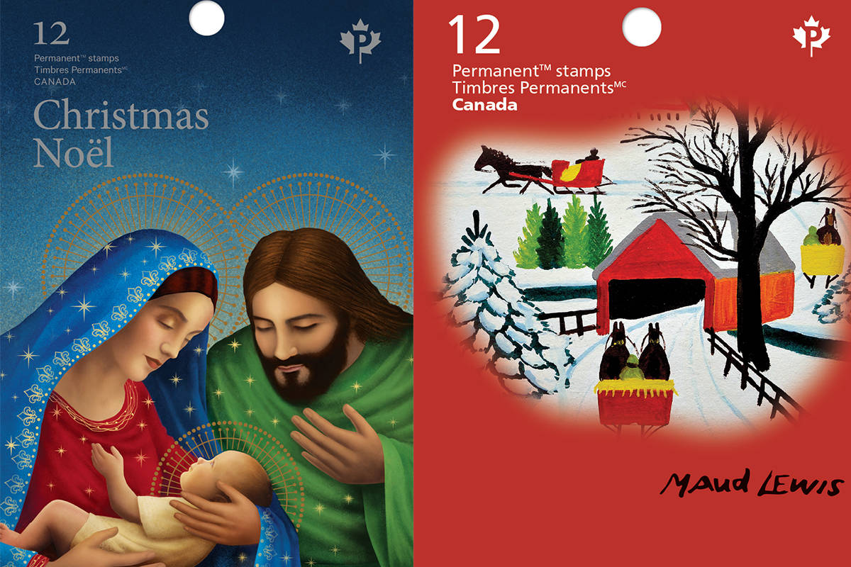 Booklet covers for two of the holiday stamps being released by Canada Post on Monday, Nov. 2, 2020. (Canada Post)