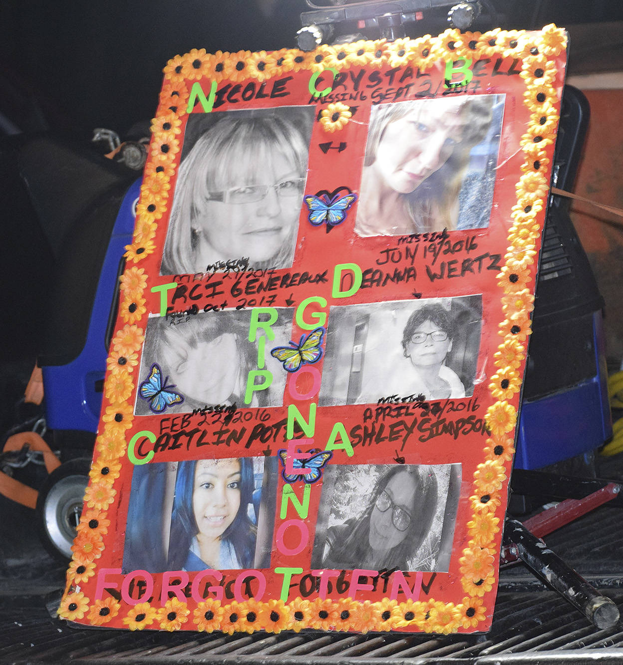 A poster of the missing women from the Shuswap as well as Traci Generaux whose remains were found on the farm was displayed at the rally on Oct. 30 in front of the Sagmoen farm on Salmon River Road near Silver Creek. (Martha Wickett - Salmon Arm Observer)