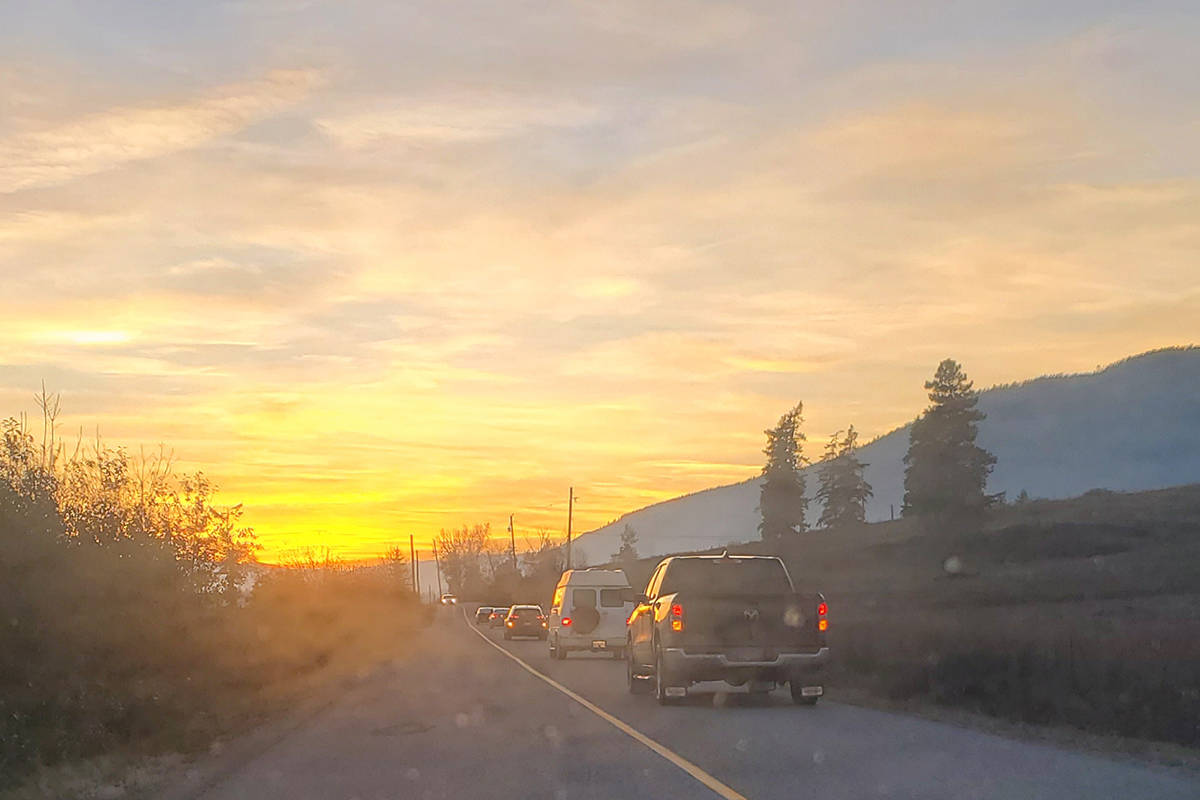 More than 40 vehicles drove from Enderby's Splatsin Community Centre to a Silver Creek farm in procession Sunday, Nov. 1, to chant and pray for four missing Shuswap women. (Roger Knox - Black Press)