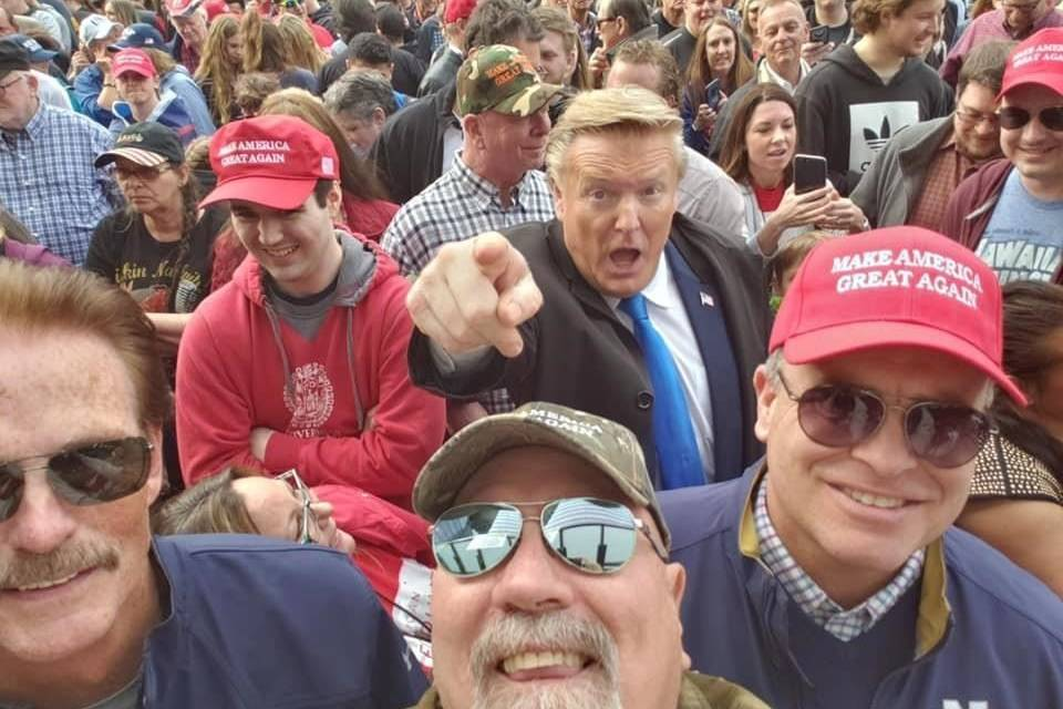 """Donald Trump impersonator Donald Rosso who also goes by """"Billionaire Donald,"""" poses with fans at a 2019 Trump rally in Grand Rapids, Michigan. THE CANADIAN PRESS/HO-Donald Rosso/Facebook MANDATORY CREDIT"""