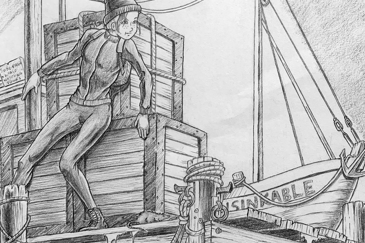 Trevor Watson drew the illustrations for Inga Kruse's book Lou and the Whale of a Crime. (Inga Kruse/Special to the Aldergrove Star)