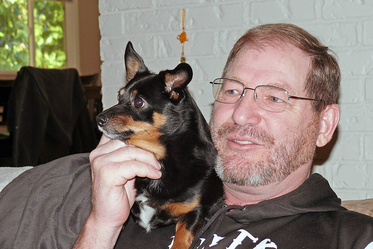 When veteran Richard Jolly, who fought in the battle of Medak Pocket in 1993, has a bad dream, his dog Daisy will snuggle up to offer comfort. (Dan Ferguson/Langley Advance Times)