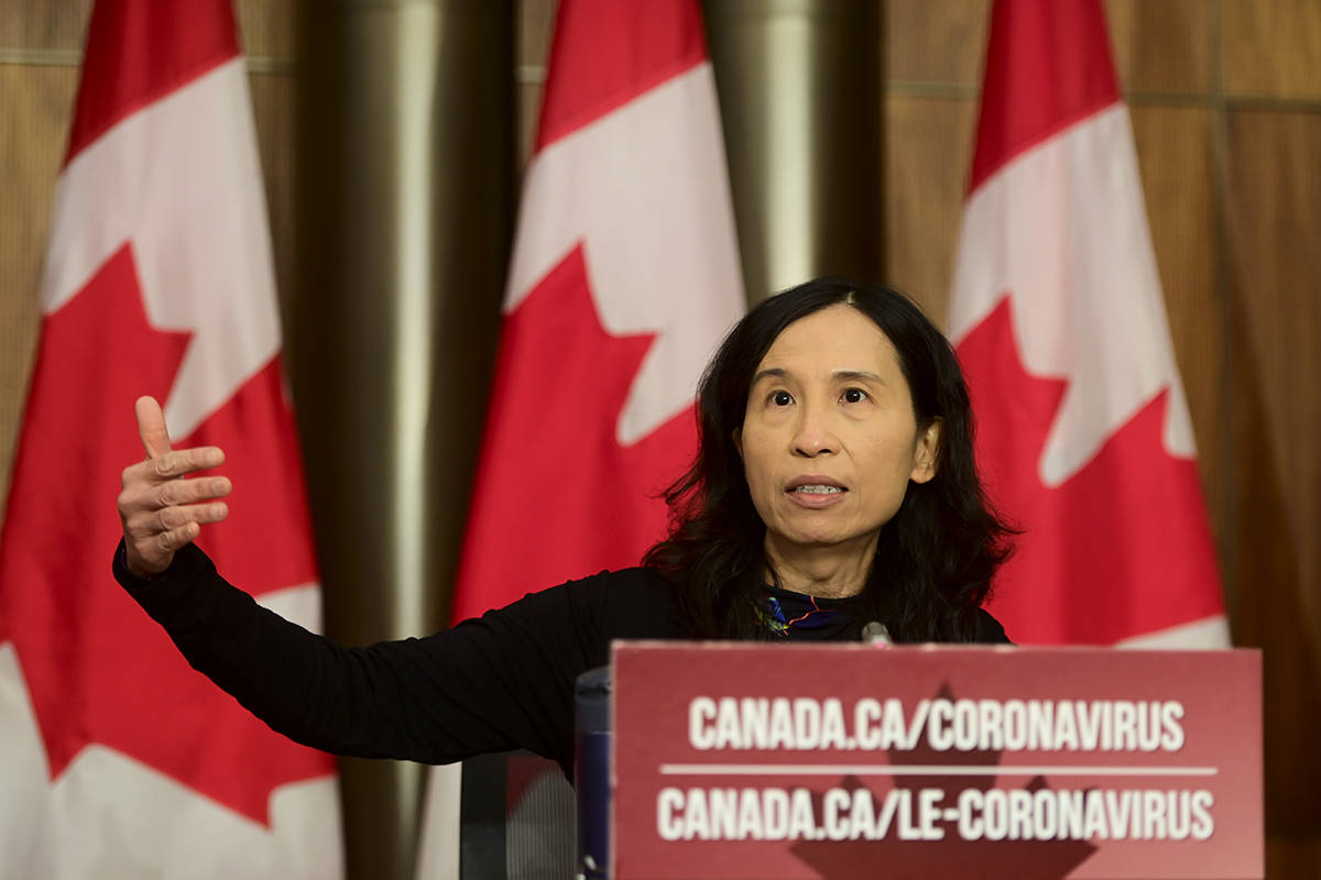 Chief Public Health Officer Dr. Theresa Tam provides an update on the COVID-19 pandemic during a press conference in Ottawa on Friday, Oct. 30, 2020. THE CANADIAN PRESS/Sean Kilpatrick