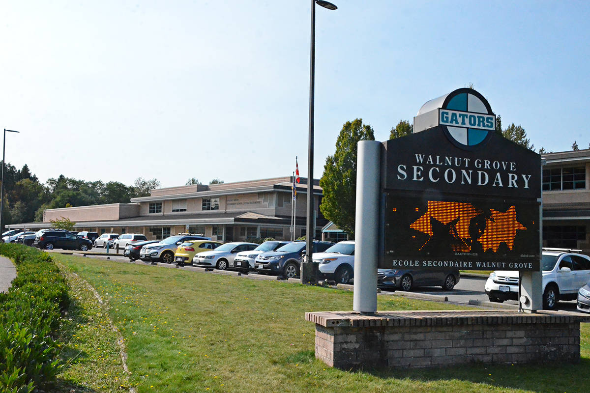 Walnut Grove Secondary has seen a recent COVID exposure according to a letter sent home to families. (Langley Advance Times files)