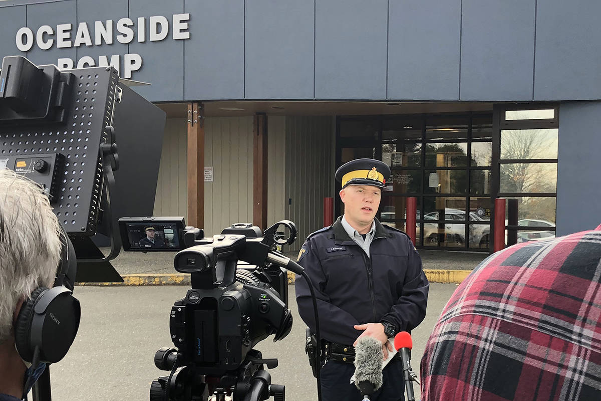 Oceanside RCMP Cpl. Jesse Foreman addresses the media on Monday, Nov. 2, 2020 at the detachment in Parksville. Investigators are looking into the discovery of three bodies in a gravel pit on Sunday, Nov. 1 in Whiskey Creek (Peter McCully photo)
