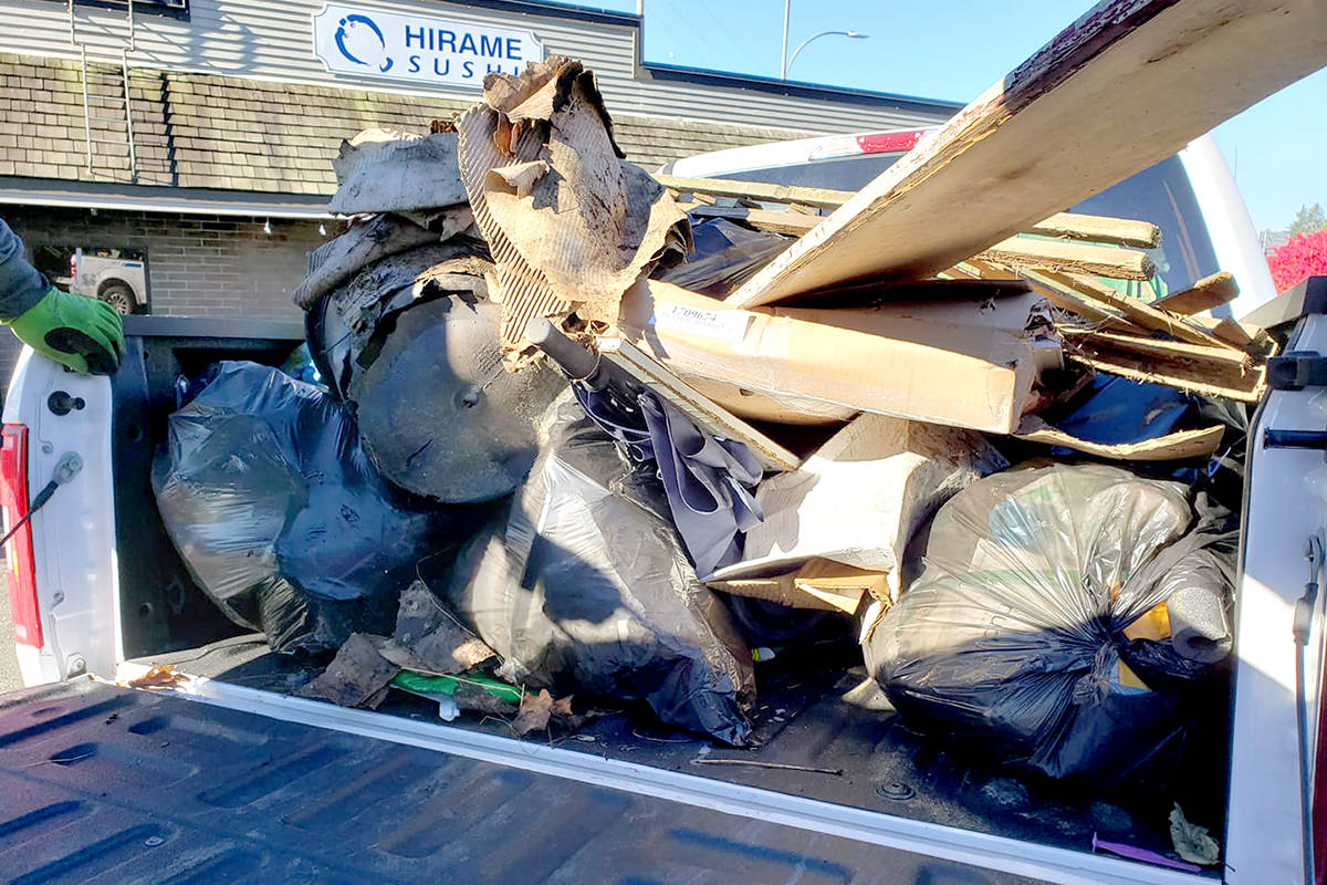 Clean Up Aldergrove volunteers eight bags worth of community litter on Nov. 1. (Jocelyn Titus/Special to The Star)