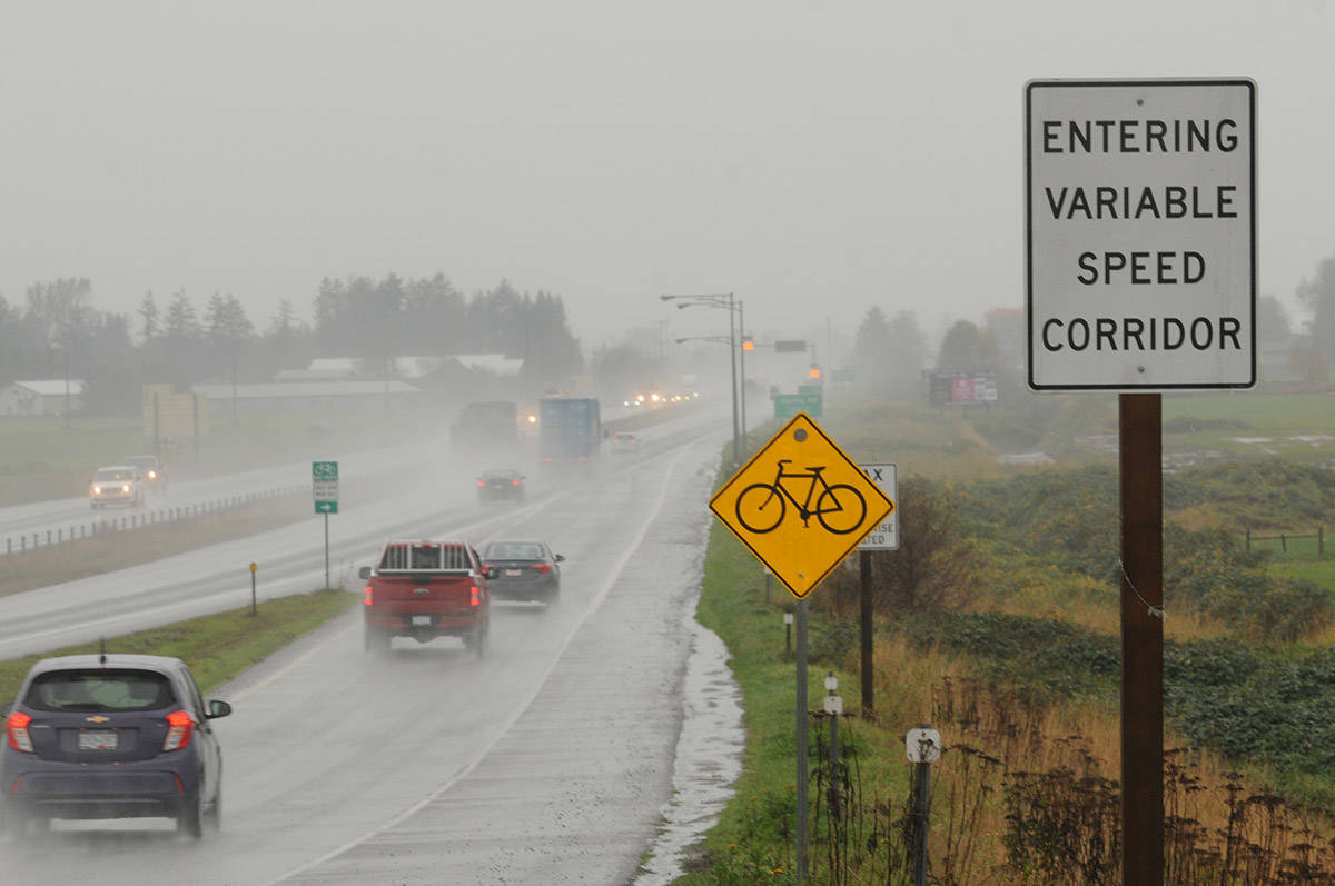 Variable speed limits on Highway 1 between Chilliwack and Abbotsford went into effect on Tuesday, Nov. 3, 2020 with these 'gateway' signs. (Jenna Hauck/ Chilliwack Progress)