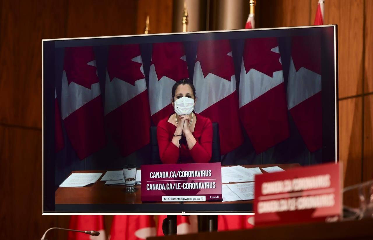 Minister of Finance Chrystia Freeland takes part via video conference as an update is provided during the COVID pandemic in Ottawa on Tuesday, Nov. 3, 2020. THE CANADIAN PRESS/Sean Kilpatrick