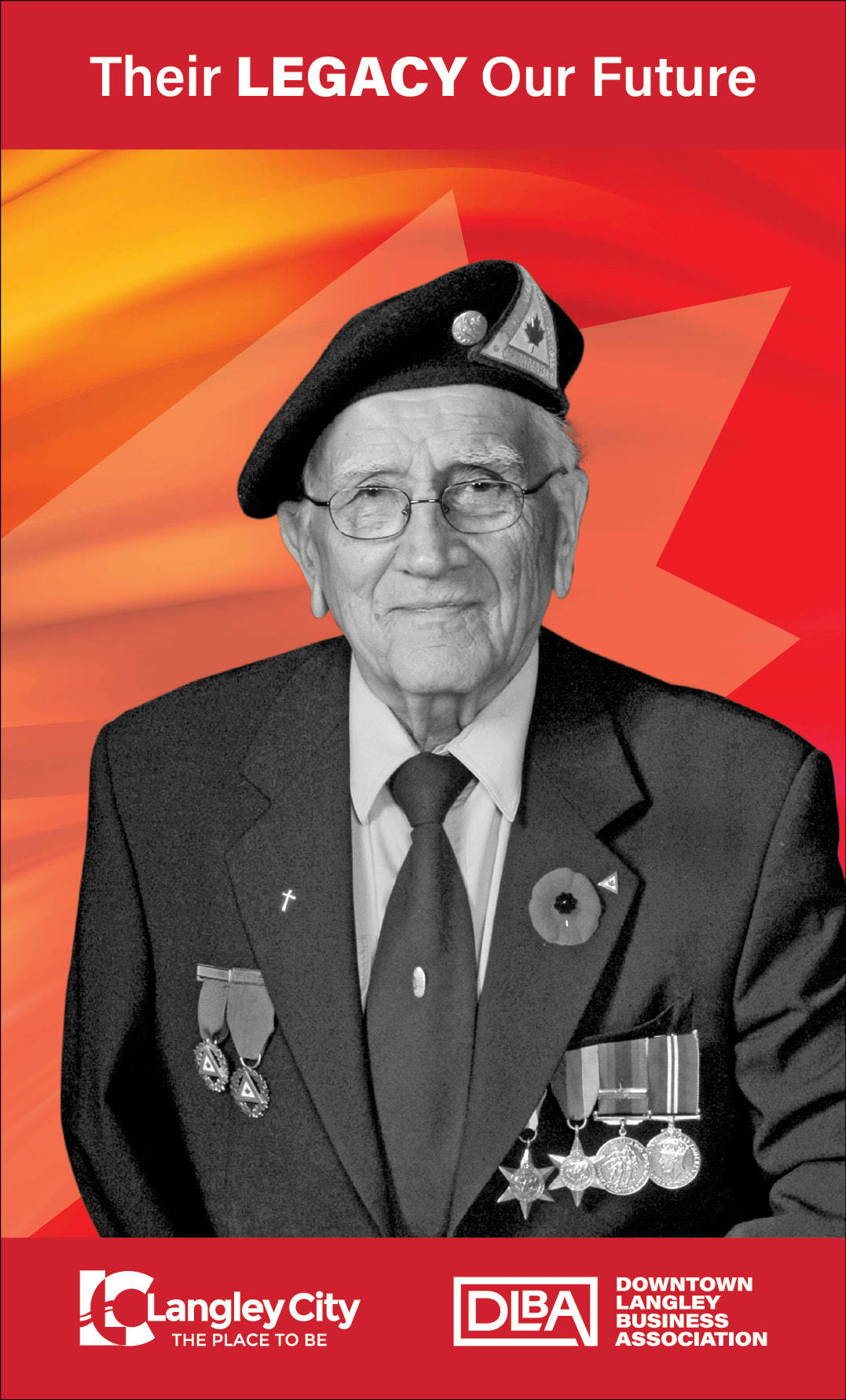 Frank Nagy, veteran featured on Downtown Langley Business Association Remembrance Day banner. (Downtown Langley Business Association/Special to Langley Advance Times)