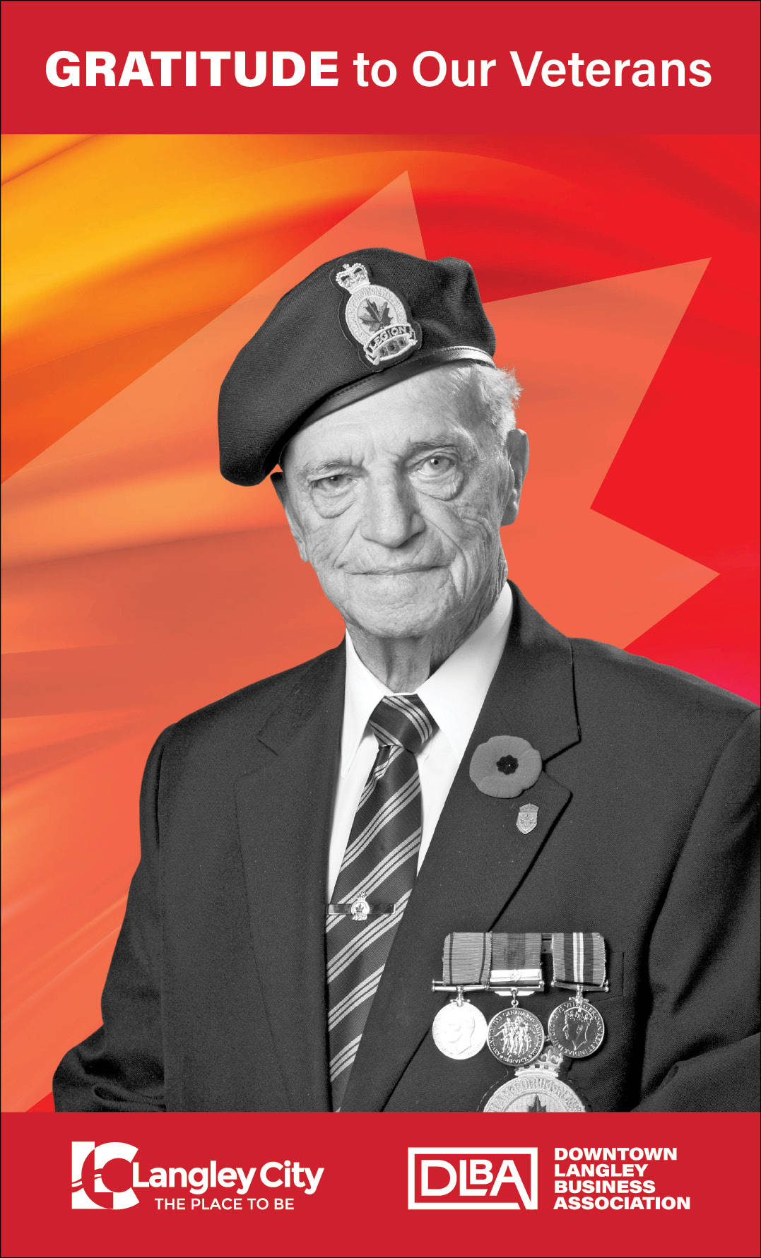 James Ferguson, veteran featured on Downtown Langley Business Association Remembrance Day banner. (Downtown Langley Business Association/Special to Langley Advance Times)