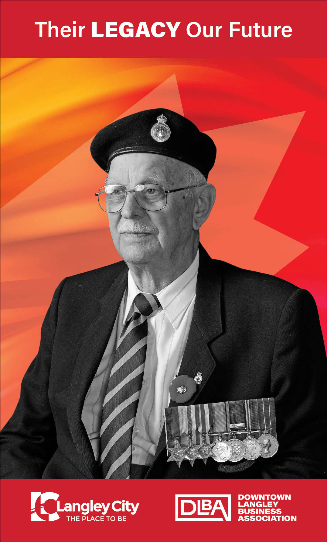 Name of this veteran featured in the Downtown Langley Business Association (DLBA) Remembrance Day banner initiative it not known. Do you know their name? If so, contact the DLBA. (Downtown Langley Business Association/Special to Langley Advance Times)
