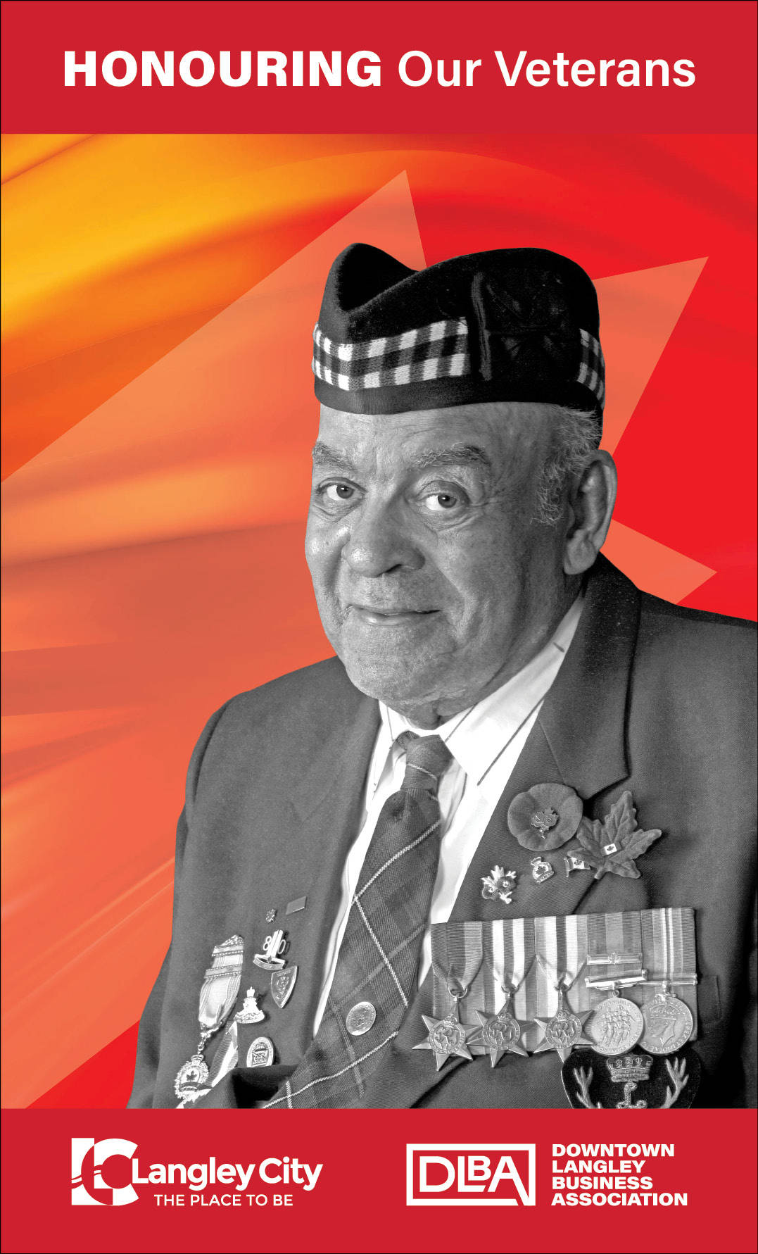 Phil Peterson, veteran featured on Downtown Langley Business Association Remembrance Day banner. (Downtown Langley Business Association/Special to Langley Advance Times)