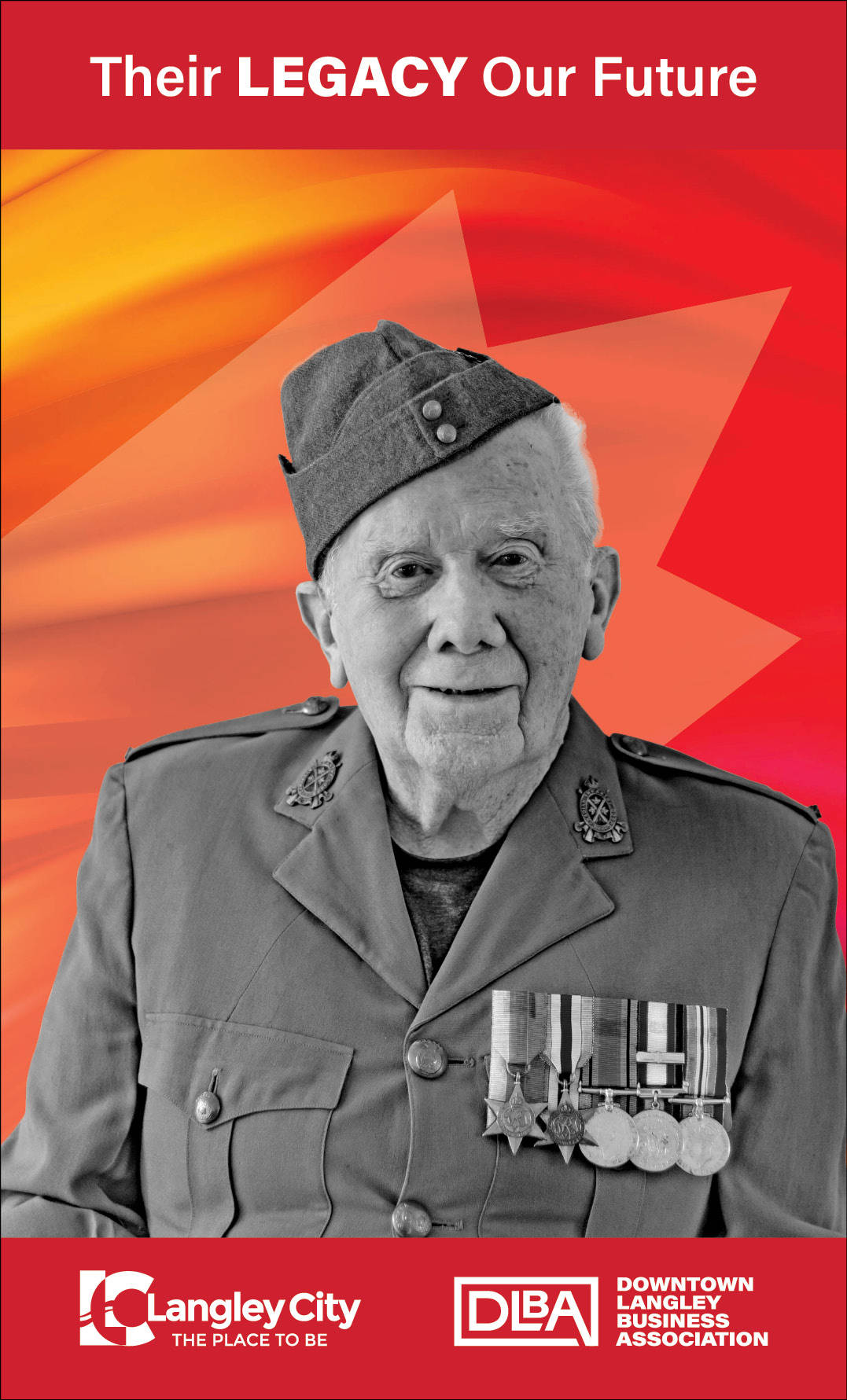 Tom Brown, veteran featured on Downtown Langley Business Association Remembrance Day banner. (Downtown Langley Business Association/Special to Langley Advance Times)