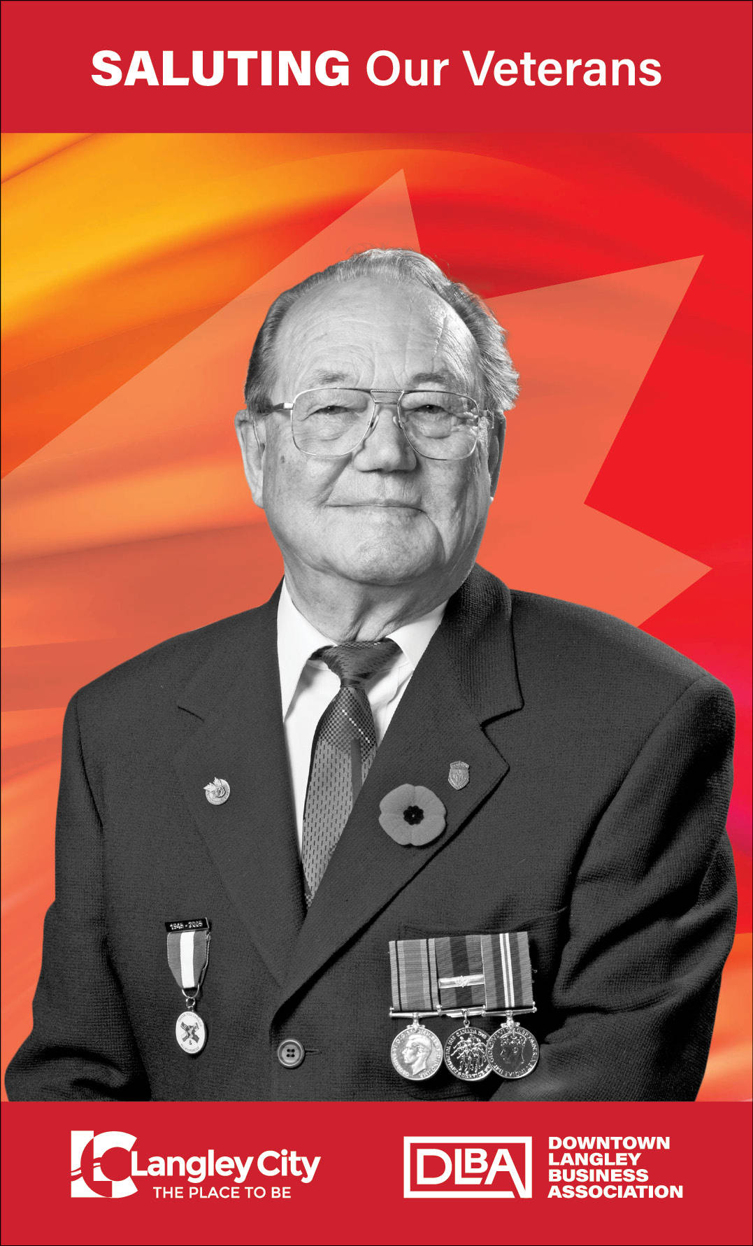 Theodore Lahrman, veteran featured on Downtown Langley Business Association Remembrance Day banner. (Downtown Langley Business Association/Special to Langley Advance Times)