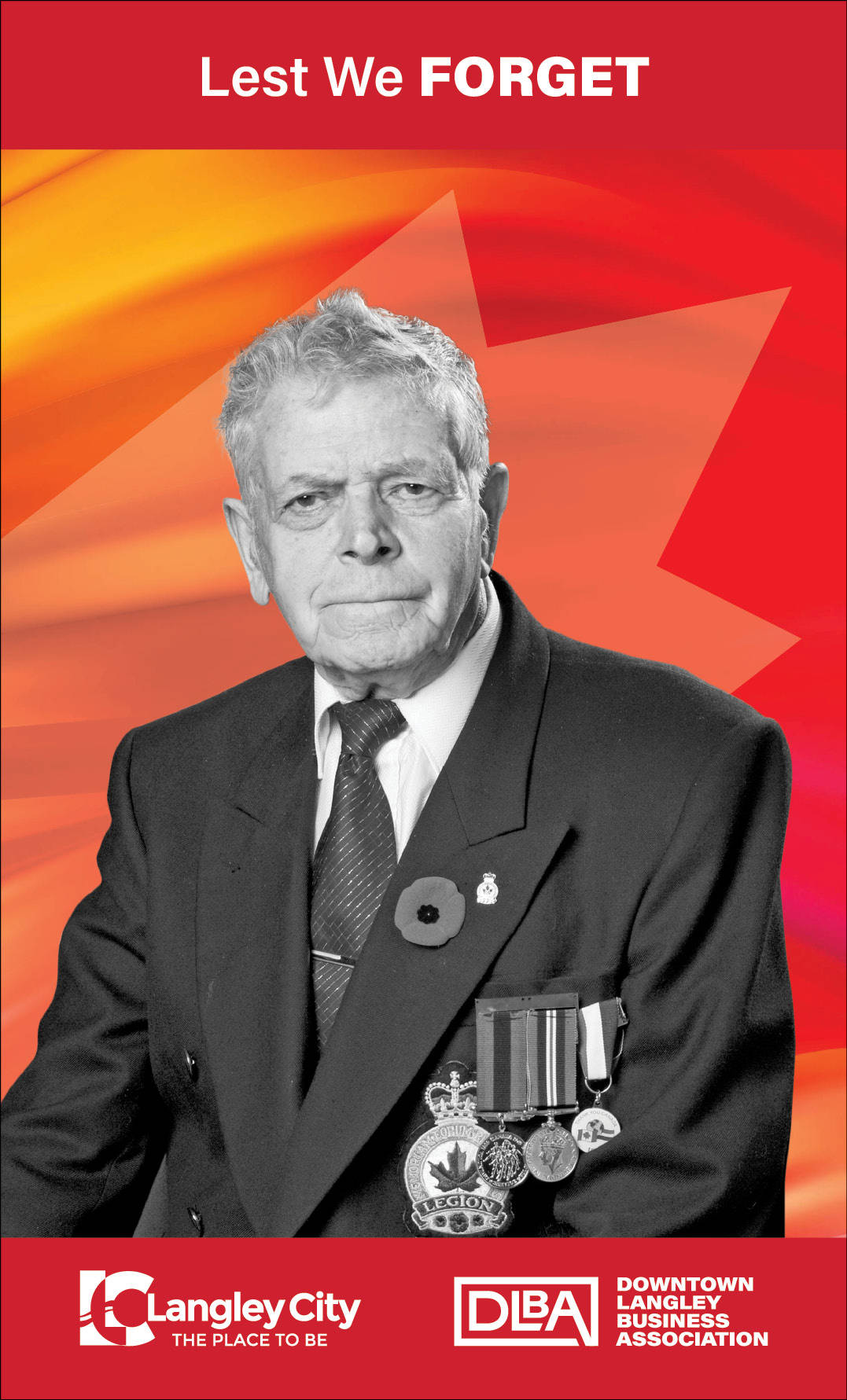 William Odribeoe, veteran featured on Downtown Langley Business Association Remembrance Day banner. (Downtown Langley Business Association/Special to Langley Advance Times)