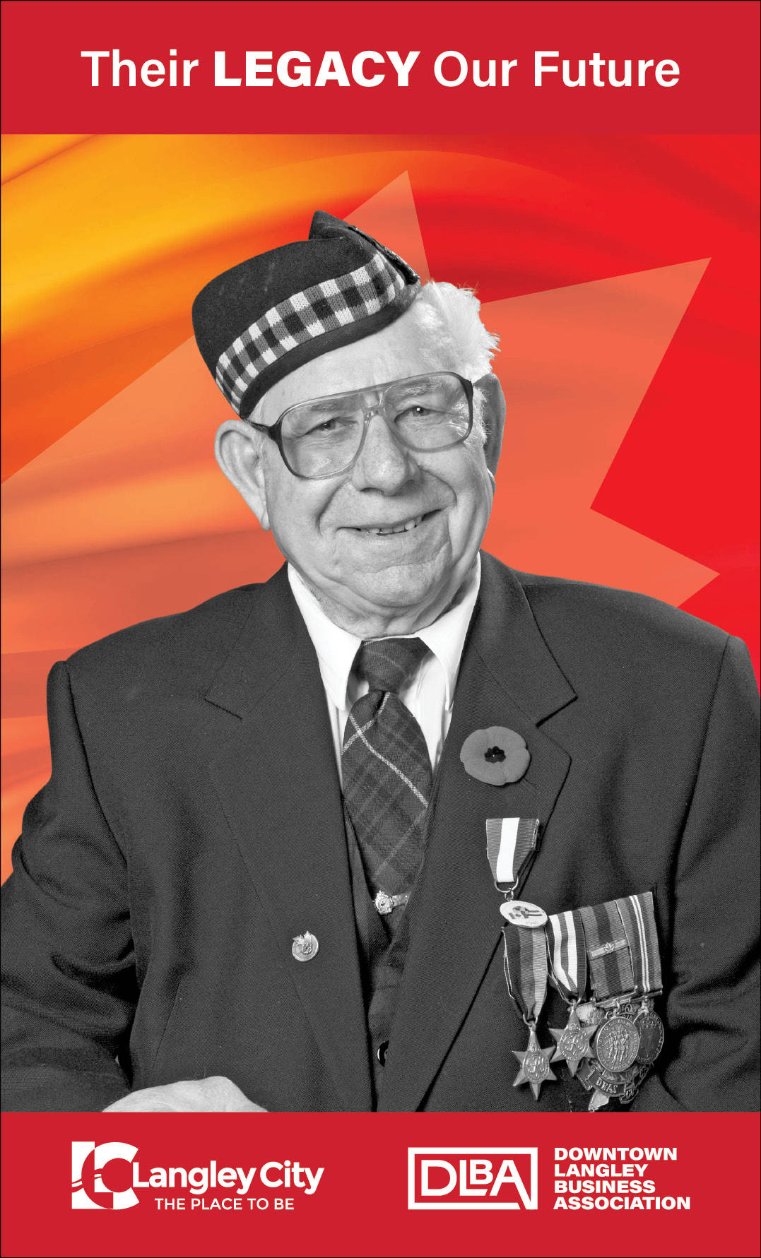Arthur Johnson, veteran featured on Downtown Langley Business Association Remembrance Day banner. (Downtown Langley Business Association/Special to Langley Advance Times)