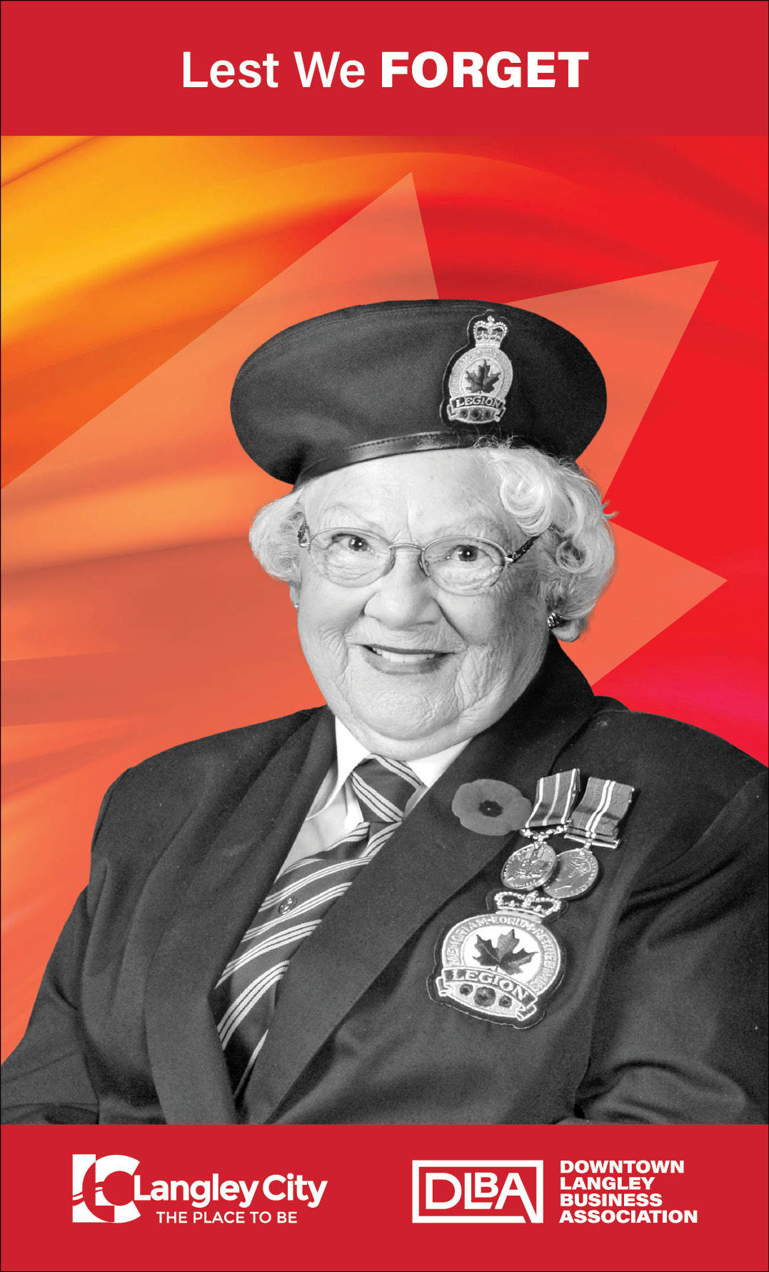 Dorothy Lepage, veteran featured on Downtown Langley Business Association Remembrance Day banner. (Downtown Langley Business Association/Special to Langley Advance Times)