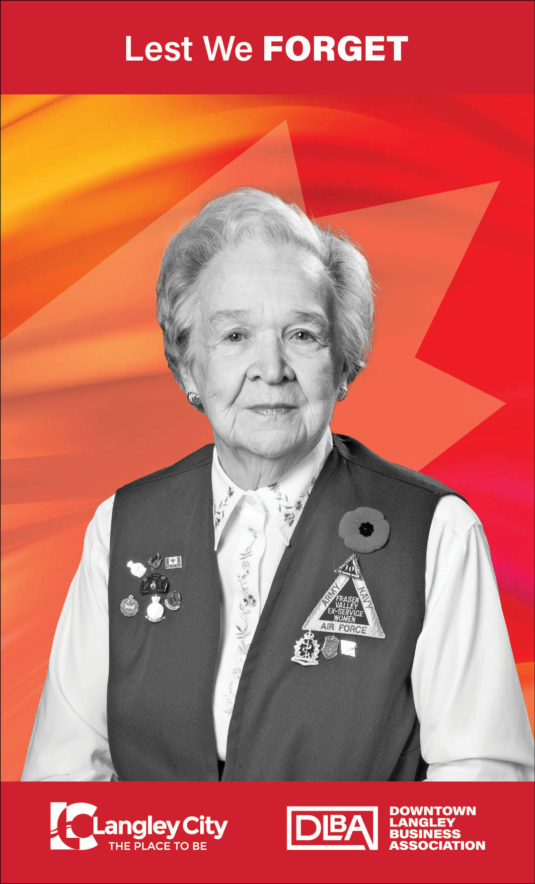 Dorthy Kelly, veteran featured on Downtown Langley Business Association Remembrance Day banner. (Downtown Langley Business Association/Special to Langley Advance Times)