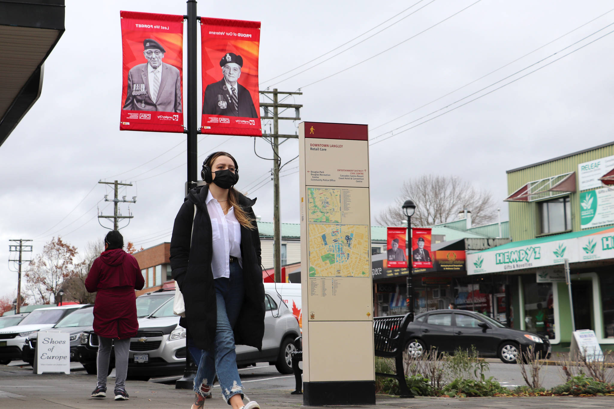 The Downtown Langley Business Association honours veterans by displaying images of those who served ahead of Remembrance Day each year. (Joti Grewal/Langley Advance Times)