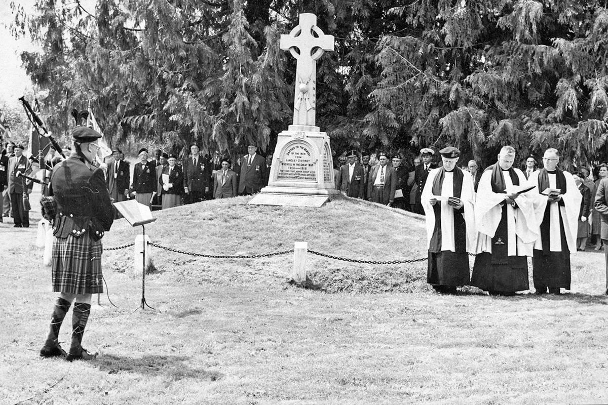 Piper Tommy Farquhar played a lament during a Remembrance Day service in Fort Langley c. 1960. (Langley Advance Photo Collection, Langley Centennial Museum)